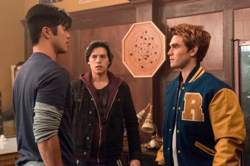 "Riverdale -- ""Chapter Two: A Touch of Evil"" -- Image Number: RVD102d_0448.jpg -- Pictured: Ross Butler as Reggie Mantle, Cole Sprouse as Jughead Jones and KJ Apa as Archie Andrews -- Photo: Dean Buscher/The CW -- © 2016 The CW Network. All Rights Reserved"